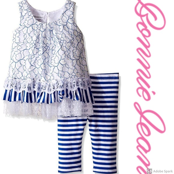 Bonnie Jean Other - Bonnie Jean Lace Ruffle Tiered Tunic Legging Set